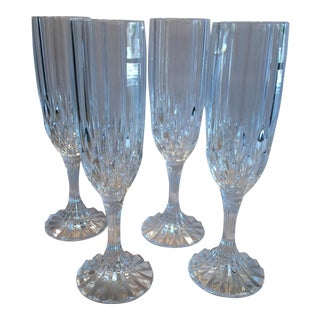 Vintage Waterford Cut Crystal Champagne Flutes - Set of 4