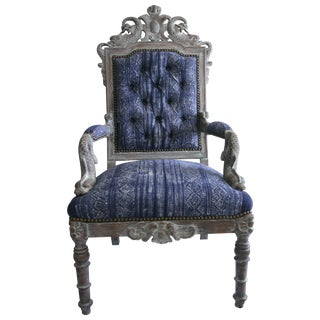 Tufted Victorian Hand-Carved Side Chair