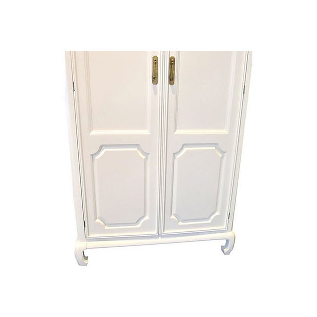 Image of 1960s White Pagoda Style Chinoiserie Armoire