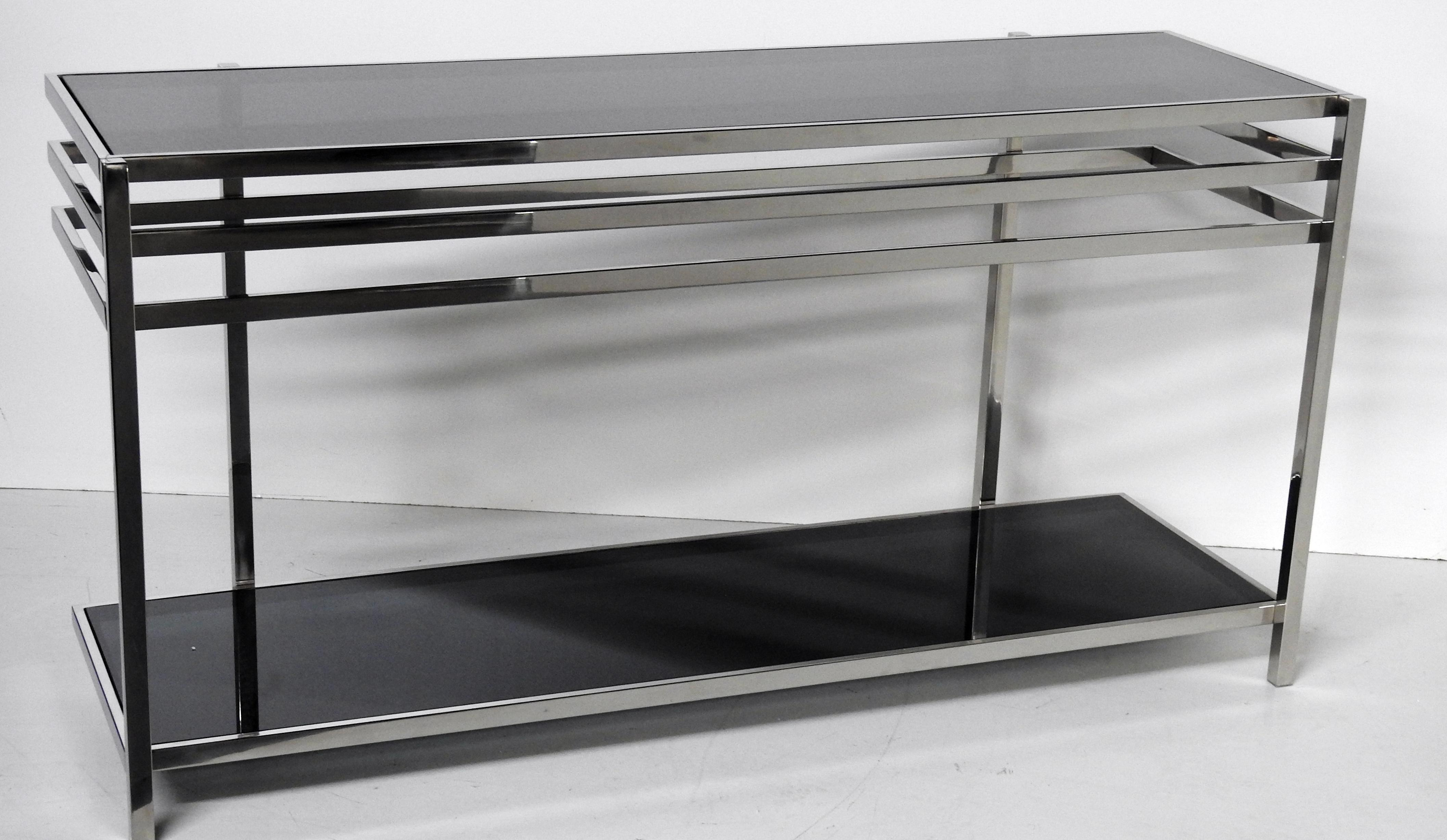 Industrial Modern Chrome U0026 Glass Console Table   Image 2 ...