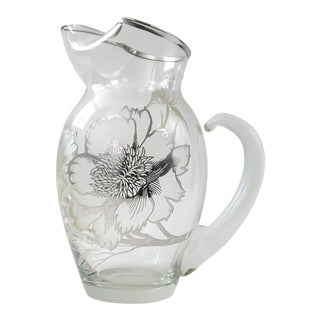 Silver Flower Glass Pitcher