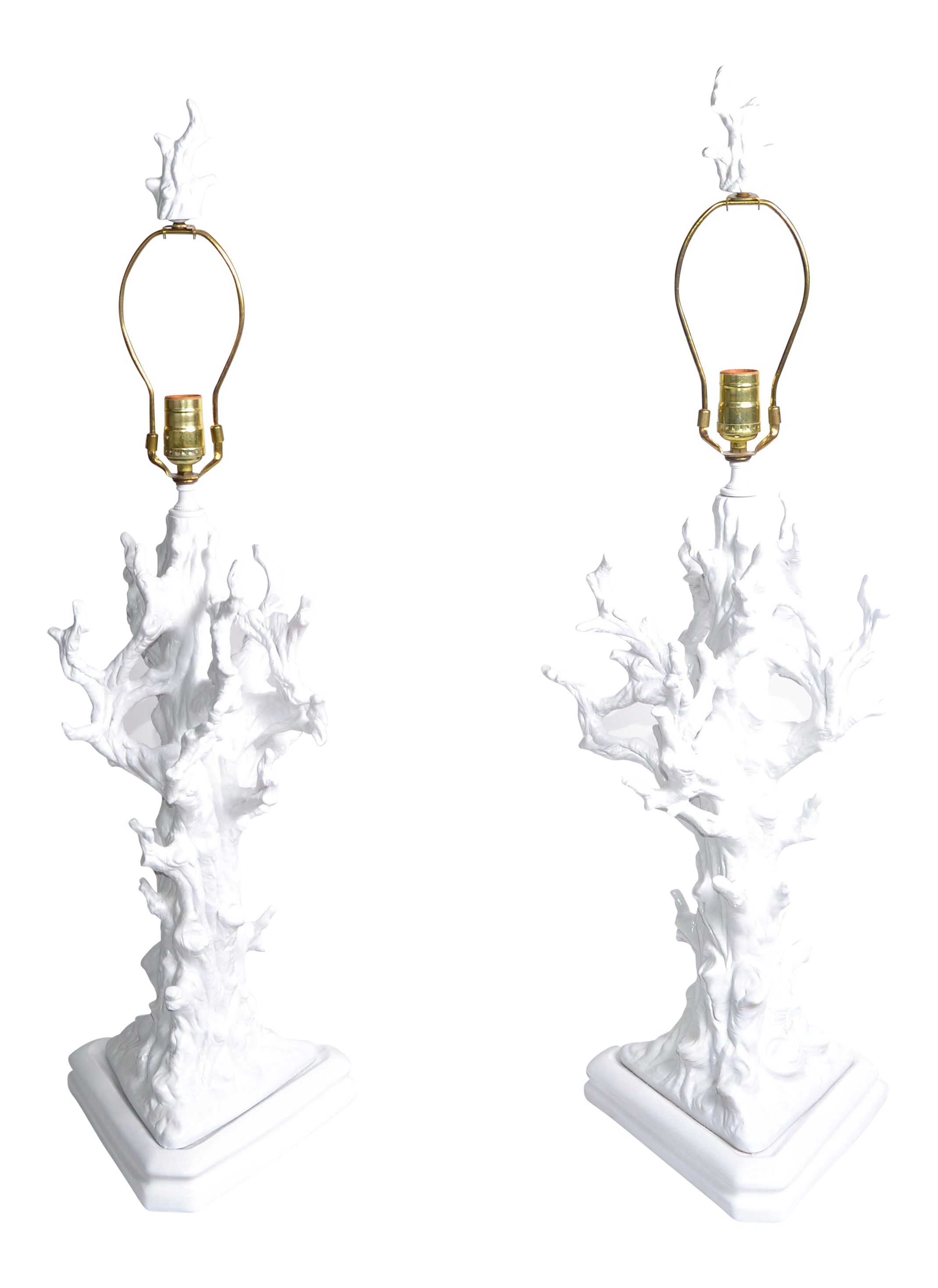 White Porcelain Tree Branch Table Lamps   A Pair