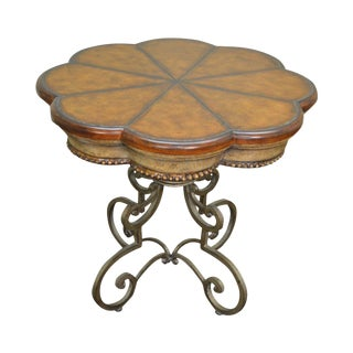 Quality Tooled Leather Top Iron Base Regency Style Side Table