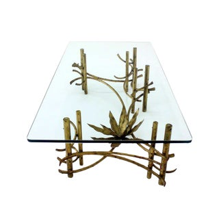"""Large Gold Gilt Metal Rectangle 3/4"""" Glass Top Mid Century Modern Coffee Tabl"""