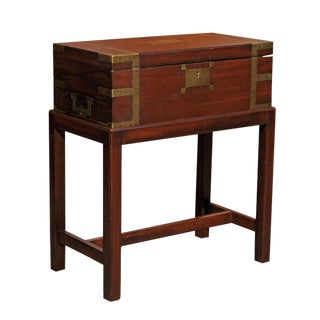 Circa 1860 English Lap Desk Writing Box with Brass Accents and Custom Stand