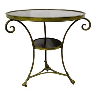 French Gueridon Brass and Onyx Table