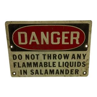1930s Vintage Metal Danger Sign