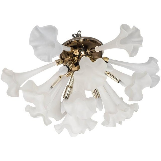Handblown Flush Mount Murano Chandelier in Brass with Frosted Glass Flowers - Image 9 of 9