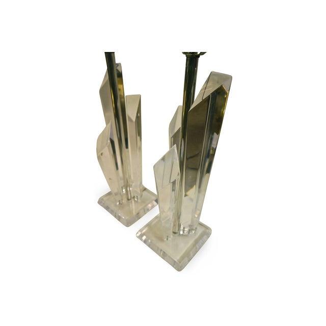 Lucite Skyscraper Lamps - A Pair - Image 4 of 7