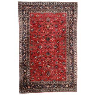 "Hand Knotted Wool Persian Mashad Rug - 10'4"" X 16'4"""