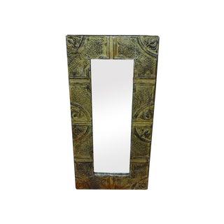 Antique Custom Made Tin Tile Mirror