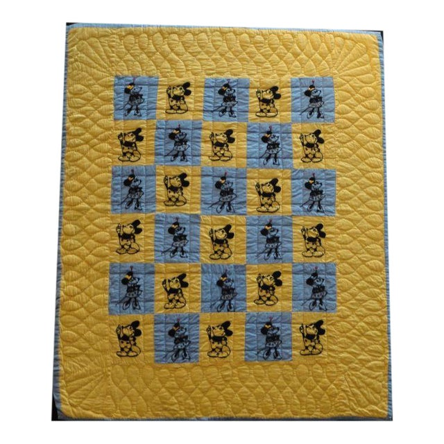 Image of Mounted Folky and Rare Mickey & Minnie Mouse Crib Quilt