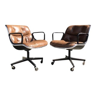 Charles Pollock for Knoll Brown Leather Office Chairs