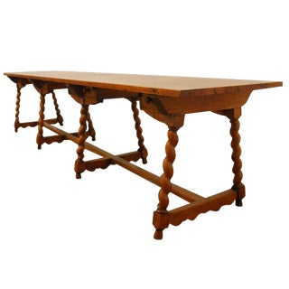 19th Century French Pine Refectory Drapers Table