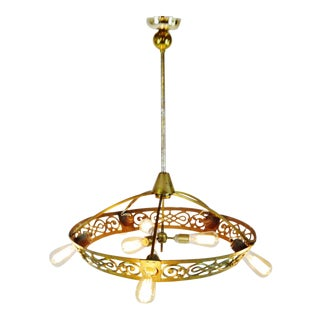 Art Deco Brass 8 Light Chandelier