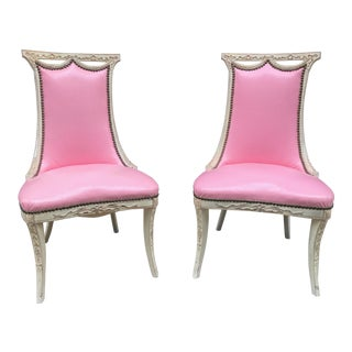 Pair Painted Regency Style Side Chairs
