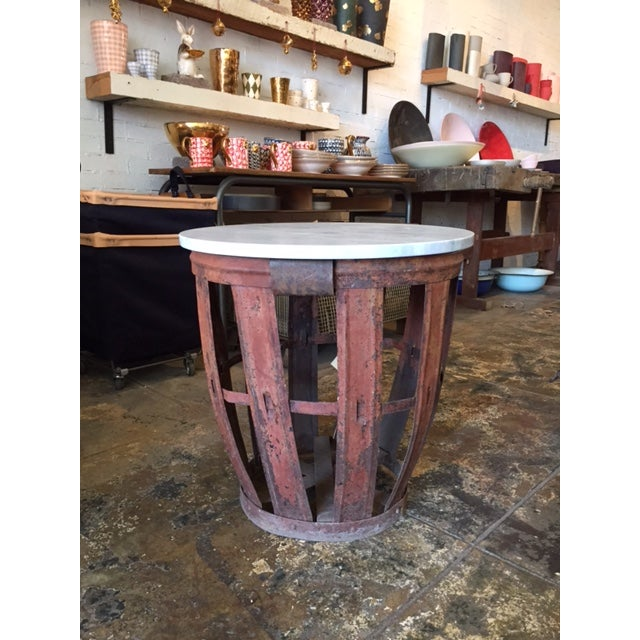 Vintage Bottle Basket With Marble Top Table - Image 3 of 4