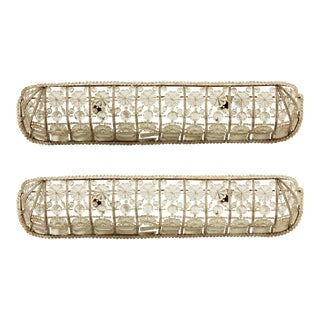 1930s Art Deco Crystal Wall Sconces - a Pair