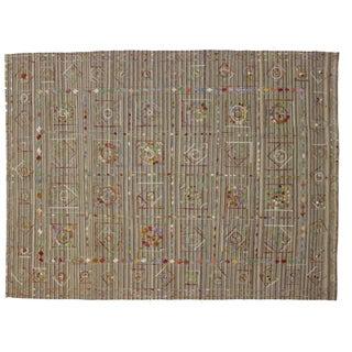 Vintage Embroidered Suzani Kilim - 8′11″ × 11′7″