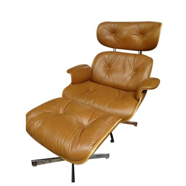 Eames Style Recliner and Ottoman - Image 1 of 6