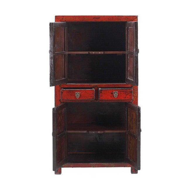Image of Vintage Oriental Red Graphic Storage Dresser Cabin