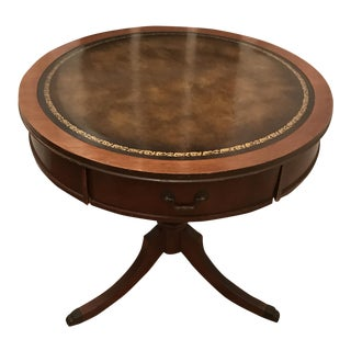 Leather Top Round Pedestal Table