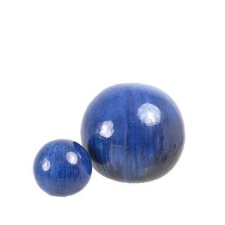 Artisan Made Glazed Ceramic Spheres, Set of Two
