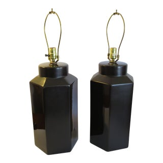 1970s Vintage Glazed Ceramic Table Lamps - Pair