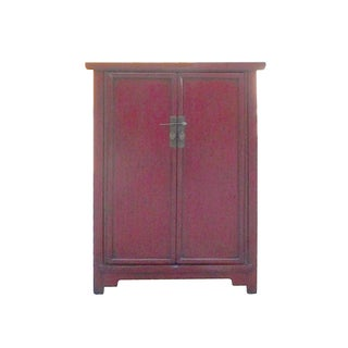 Oriental Rustic Distressed Red Side Cabinet