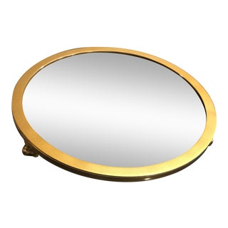 West Elm Gold Edged Round Mirror Tray