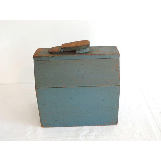Image of 19th Century Original Blue Shoe Shine Box from Maine