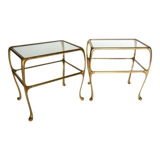 Pair of Argentinian Side Tables in Brass with Glass Top and Shelf