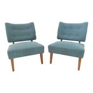 Vintage Kroehler Teal Blue Accent Slipper Chairs - a Pair