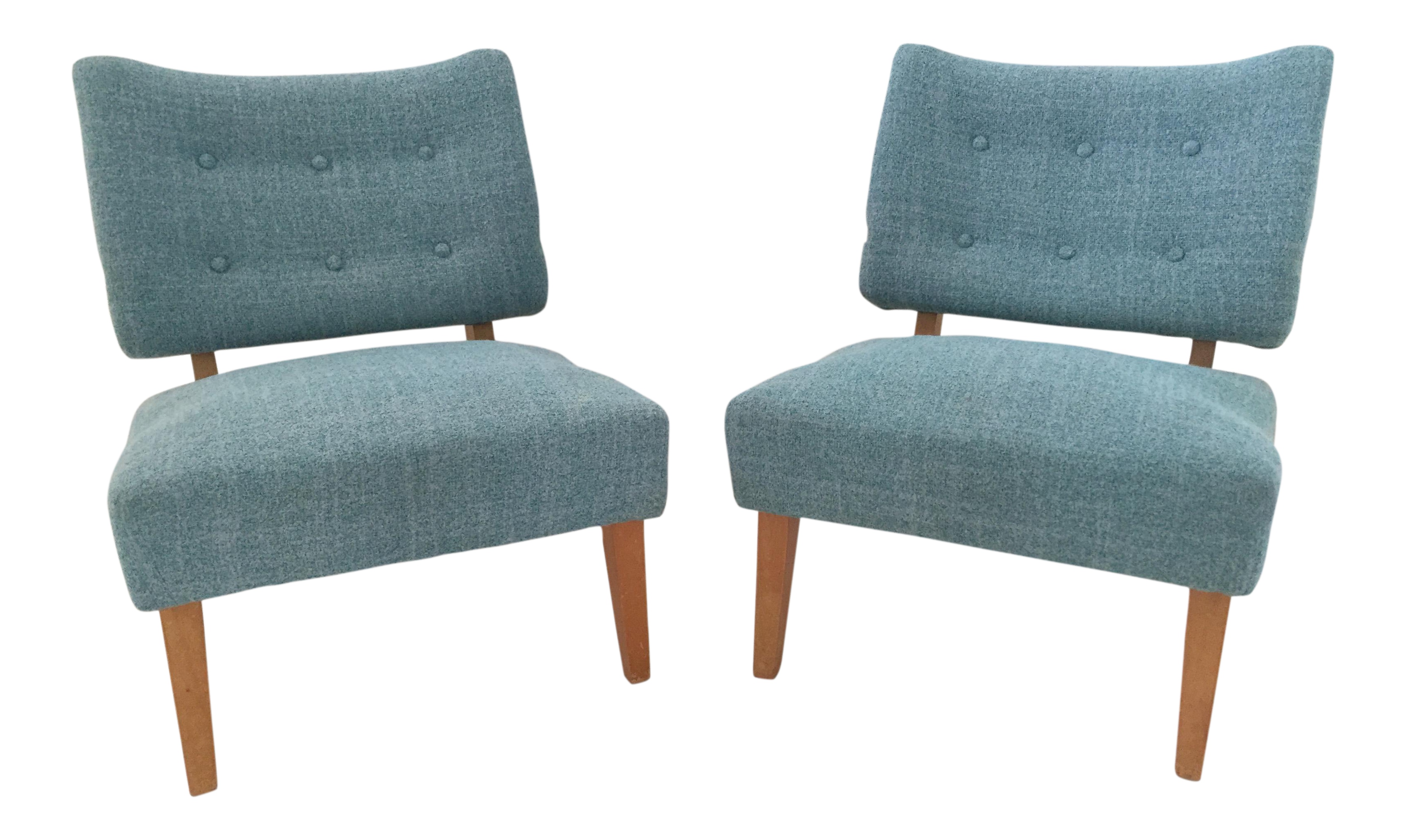 Vintage Kroehler Teal Blue Accent Slipper Chairs   A Pair   Image 1 Of 11