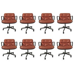 "Charles Pollock for Knoll ""Terracotta"" Leather Executive Swivel Tilt Armchairs"