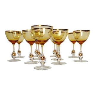 c1960s Italian Handblown Amber & Gilt Gold Crystal Aperitif Glasses - Set of 11