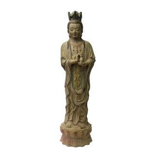 Chinese Handmade Clay Standing Kwan Yin Vase Statue