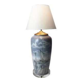 Hand-Painted Ceramic Table Lamp with Nautical Scene by Tre A, 1991