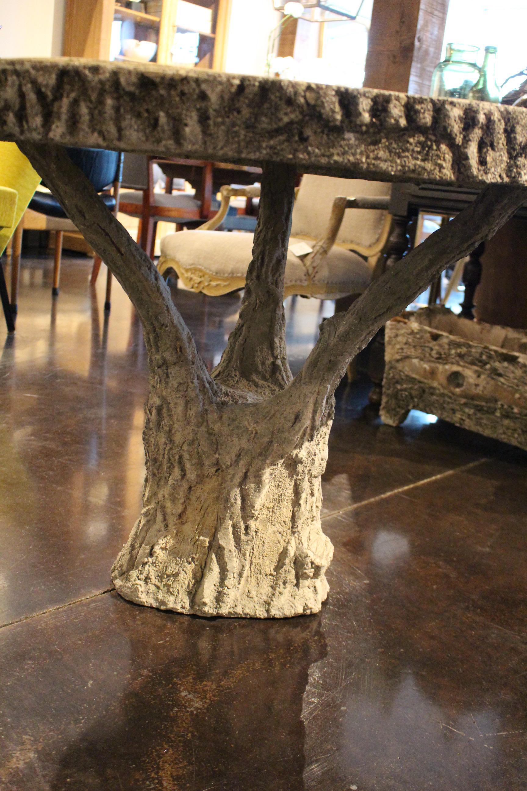 Faux Bois Concrete Round Pedestal Table   Image 5 Of 6