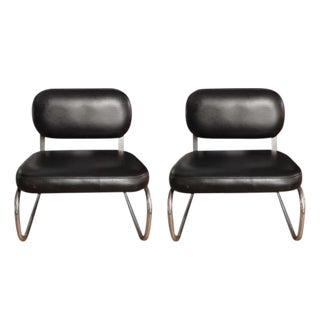 Mid Century Chrome & Vinyl Lounge Chairs - a Pair