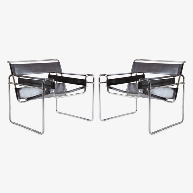 wassily chairs in brown leather by marcel breuer for gavina chairish. Black Bedroom Furniture Sets. Home Design Ideas