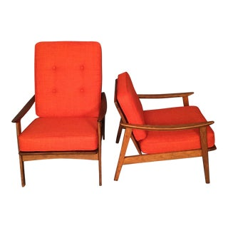Mid-Century High & Low Back Arm Chairs - A Pair