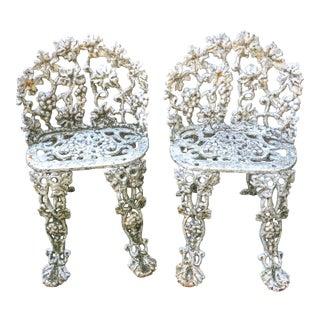 Antique White Cast Iron Chairs - A Pair