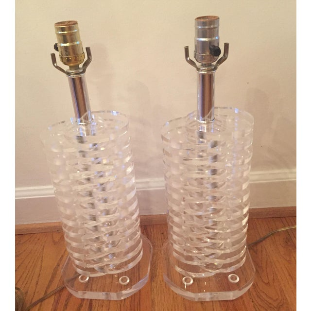 Stacked Lucite Lamps - A Pair - Image 5 of 11