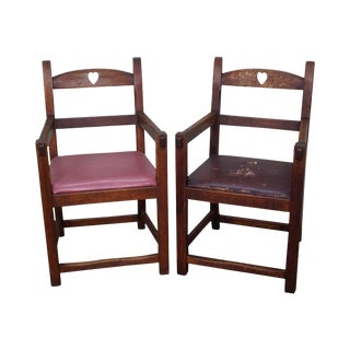 Antique Arts & Crafts Mission Arm Chairs - a Pair