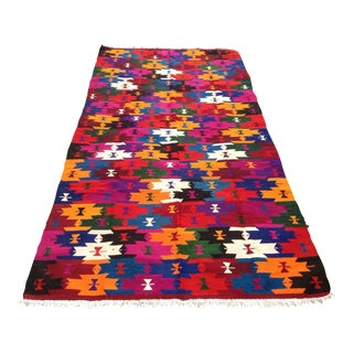 Vintage Turkish Kilim Rug - 4′10″ × 9′5″