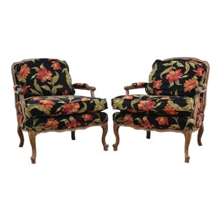 Floral French Bergere Chairs - A Pair