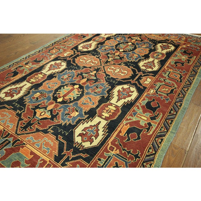"Navy Chobi Hand Knotted Wool Rug - 6'6"" x 9'10"" - Image 4 of 9"