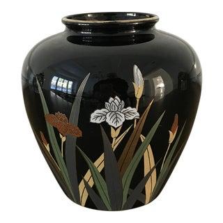 Otagari Japanese Black Floral Vase