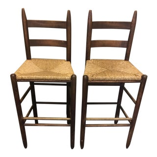 Rush Seat Wooden Bar Stools - A Pair